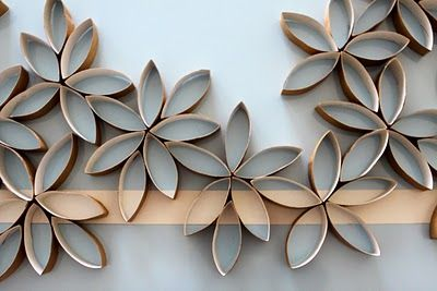Toilet paper rolls turned to wall art