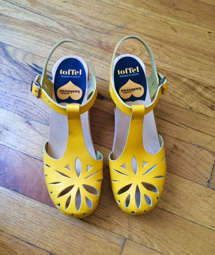 Swedish Hasbeens Yellow Cutout for Anything Leather Size 37 7 #SwedishHasbeens #PlatformsWedges