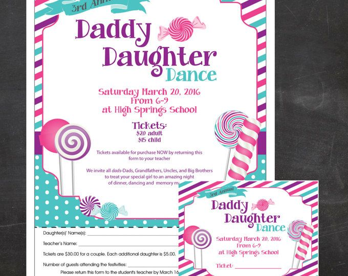 Candy Glam Daddy-Daughter Dance  - Event Custom Printable - flyer and tickets