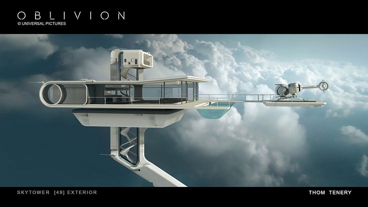 The beautiful modernistic Sky Tower from the movie 'Oblivion'. Concept art by Thom Tenery.