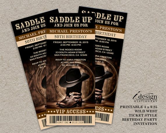 Country & Western / Wild West 50th Birthday Party Ticket ...