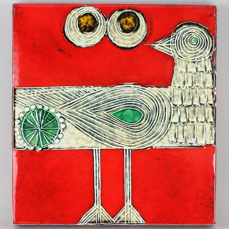 Lisa Larson (1966) Charming Sandpiper Wall Plaque (Red)