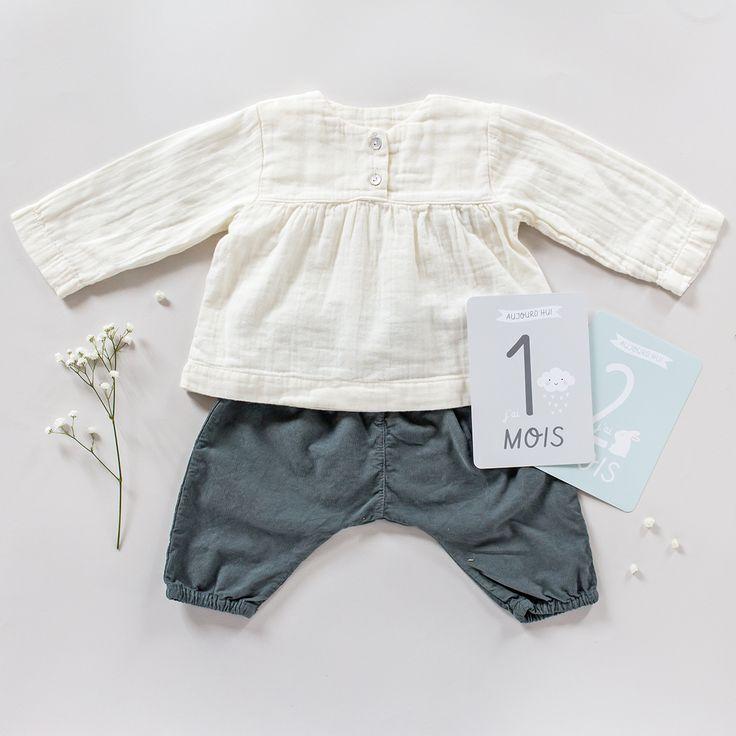 Blouse lange Poudre organic • Pantalon sarouel velours Bùho •  Kit premiers mois bébé Zü