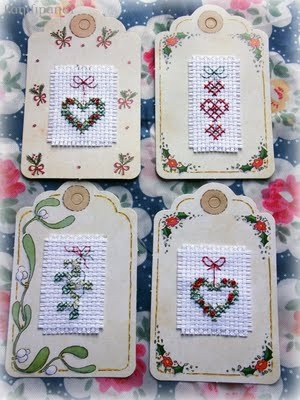 Cross Stitch Christmas tags I made ~ Kandi
