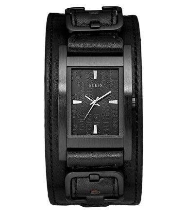 Montre Homme GUESS Casual avec bracelet de force en cuir noir, boîtier acier rectangulaire noir. http://amzn.to/2ttwUNA