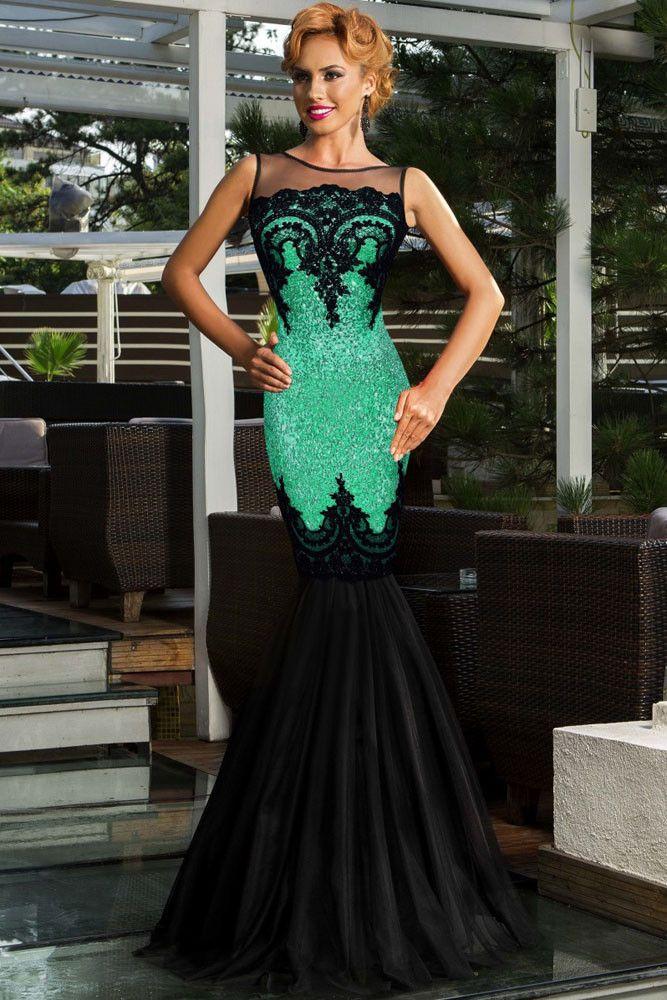 Green Sequin Applique Multi-Layer Tulle Sweeping Floor Skirt Her Evening Mermaid Dress