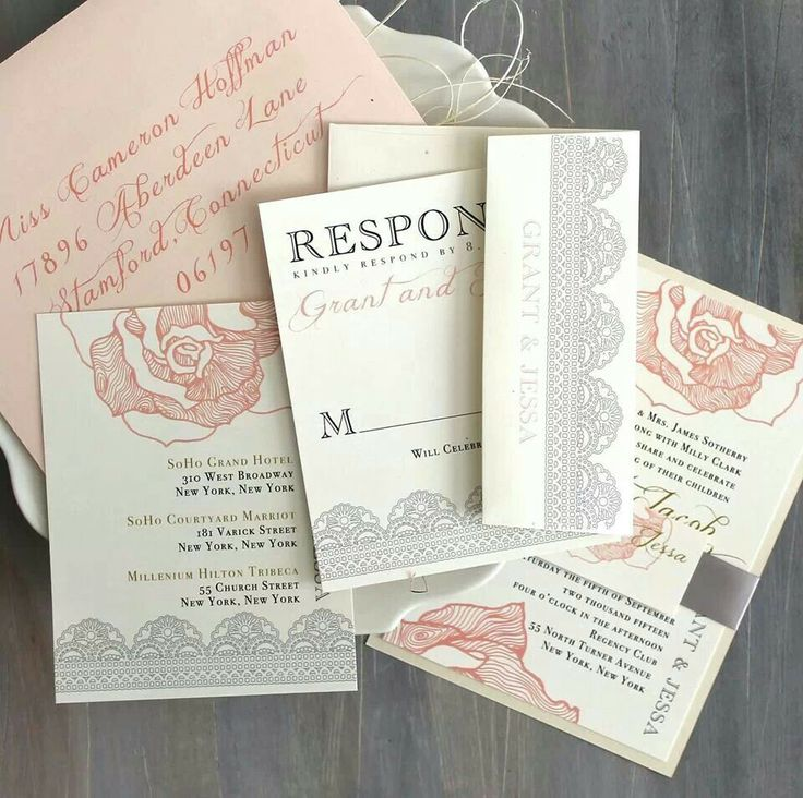 Lace Wedding Invitation Blush Peach Pink Wedding