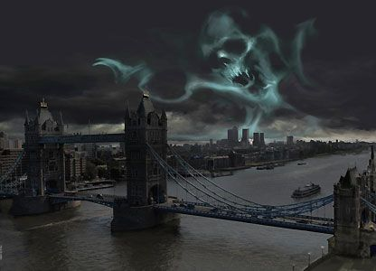 Harry Potter - Dark Mark Over London - Stuart Craig - World-Wide-Art.com  -- #harrypotter #jkrowling #stuartcraig