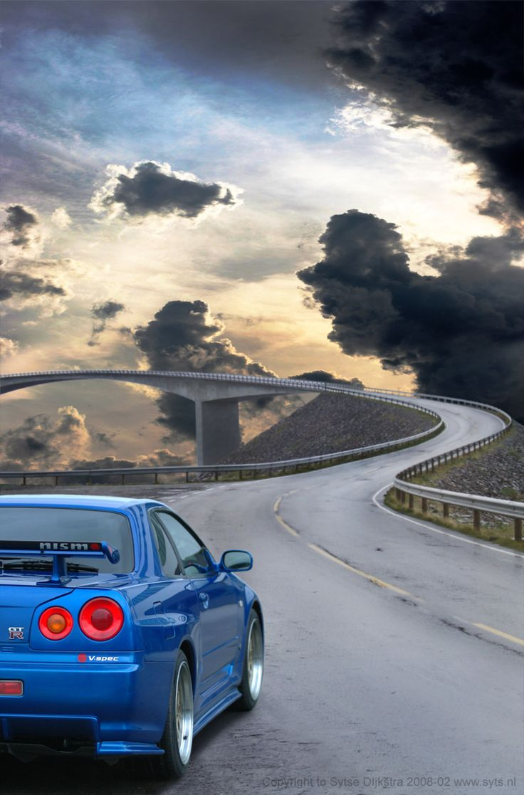 A spectacular shot of the Nissan Skyline GTR on the beautiful AtlanticRoad, Norway. To see more breathtaking roads like this...click on the image!