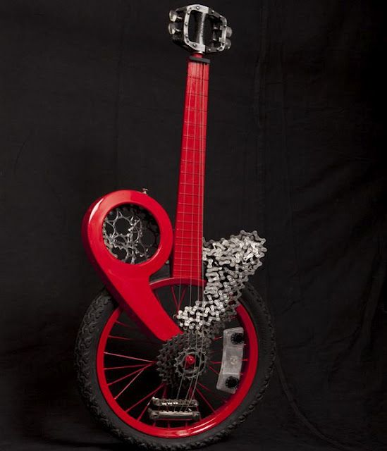 For the musician/bike enthusiast  wow!Custom Guitar, Les Paul, Unusual Guitar, Bicycles Music, Bikes Guitar, Music Instruments, Cool Acoustic Guitar, Bicycles Guitar, Cool Bikes Art