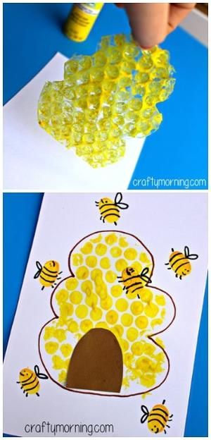 Bubble Wrap Beehive + Fingerprint Bee Craft for Kids! #Bee art project | CraftyMorning.com by ophelia