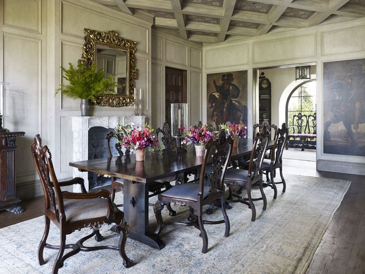 This Santa Monica, California, home was furnished with a mix of antiques and contemporary pieces. Smith fashioned the dining room's refectory-style table himself from antique wood.