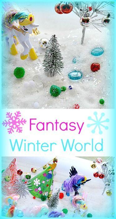 Kid-made fantasy winter wonderland with homemade pretend snow with common household ingredients. This snow world was just beyond sparkly and gorgeous. #wintercraftsforkids #winteractivitiesforkids #sensoryactivitiesforkids