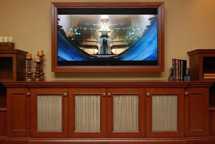 Pin By Lori Rhoads On Bathroom Ideas Framed Tv Decor Around Tv Wall Mounted Tv