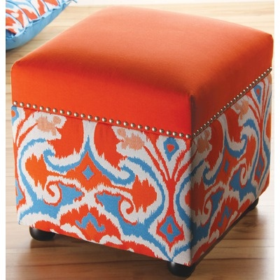 Sandy Wilson Ikat Storage Cube, Orange At MYHABI. I Think I May Need To  Redo My Ottoman Like This!