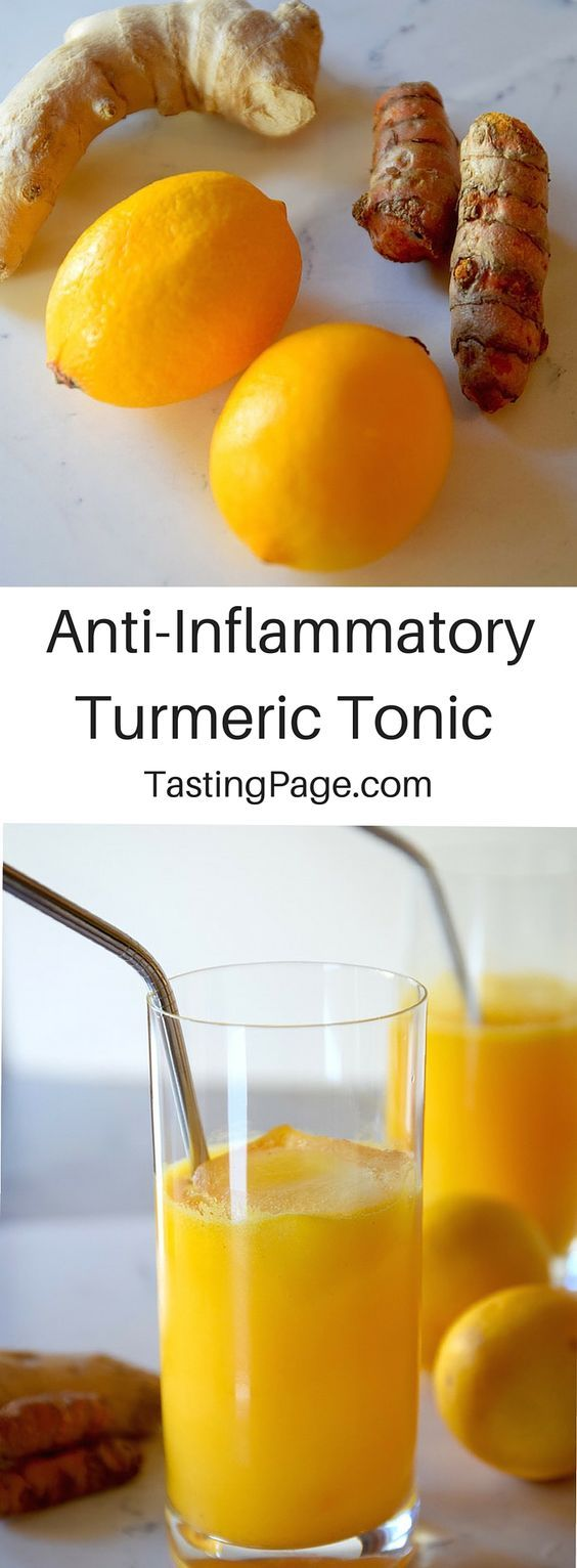 Anti-Inflammatory Turmeric Tonic from @Tasting Page. This turmeric is an anti-inflammatory, cancer-fighting wonder-house. At home, you can try this lemon turmeric tonic as a healthy elixir to drink everyday and keep the body optimized.
