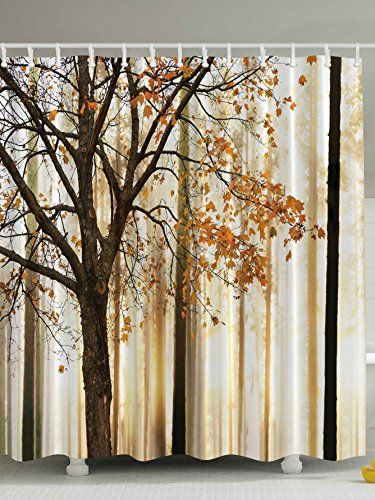 Fall Trees Print Polyester Fabric Shower Curtain Ambesonne  Http://www.amazon.