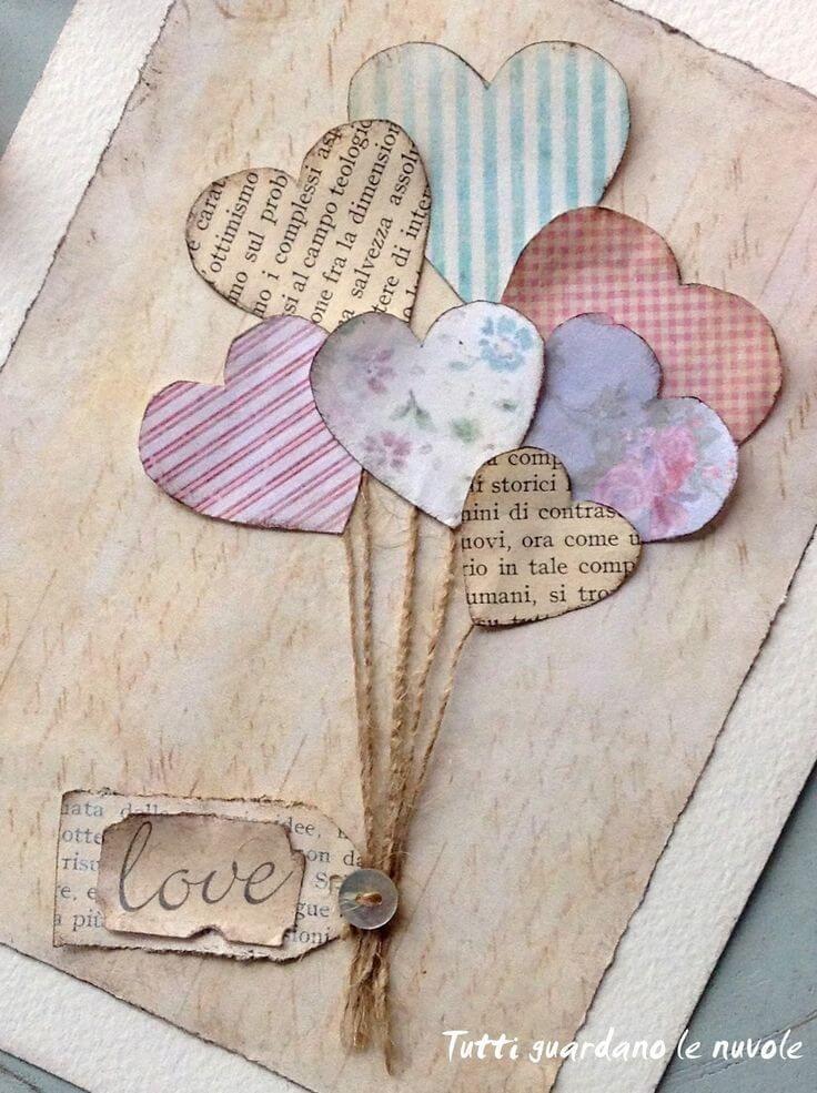 Vintage Paper Heart Balloons Valentine Card