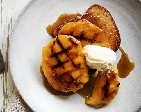 Tobie Puttock's Grilled Mango with Caramelised Brioche - divine! You can find the recipe here -  http://www.mangoes.net.au/enjoy/tobieputtock.aspx
