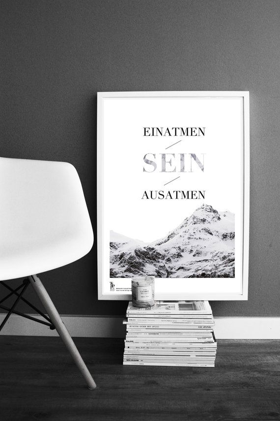 Typographic Kunstdruck ''Einatmen sein ausatmen'' von SagesmitLiebe