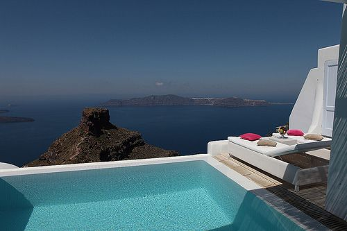 Stunning-Hotel-Outdoor-Caldera-View-Sunbeds-Romantic-Imerovigli-Santorini-Island-Honeymoon