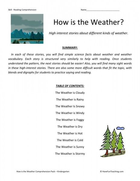 Reading Prehension Worksheet How Is The Weather
