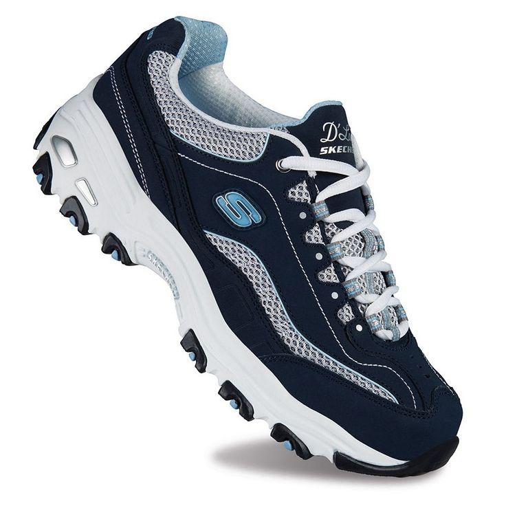 Skechers D'Lites Life Saver Women's Athletic Shoes, Size: 6.5 Wide, Blue (Navy)