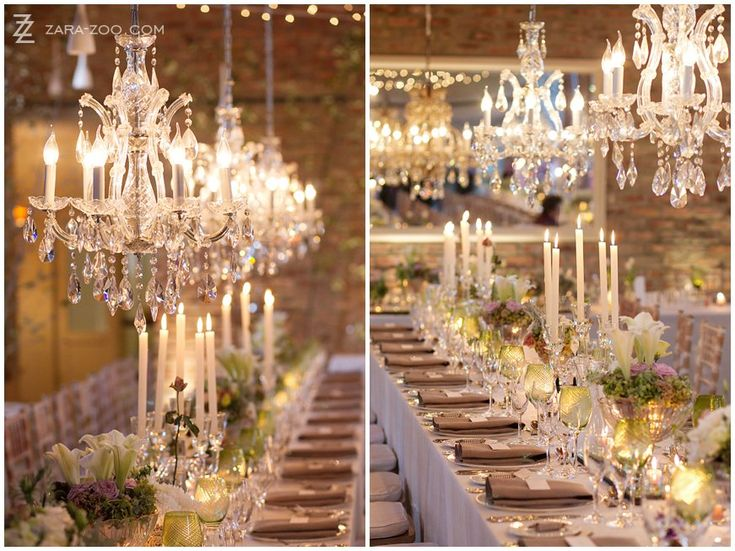 #Chrystal #chandeliers used in a #rustic #venue will give you the perfect juxtaposition.  Old mixed with sophistication.  See more of this #wedding at #Rockhaven in Elgin, #Southafrica on the ZaraZoo blog.  http://www.zara-zoo.com/blog/wedding-at-rockhaven/