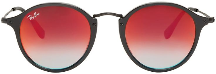 Ray-Ban - Black Mirrored Round Sunglasses