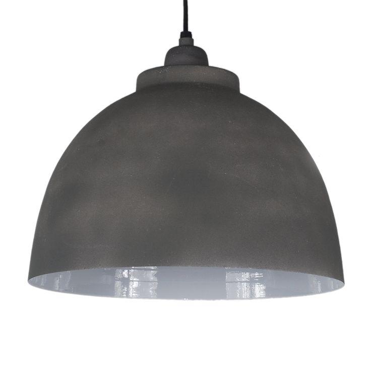 Hanglamp Capri 32cm  cement kleur +witte binnenzijde