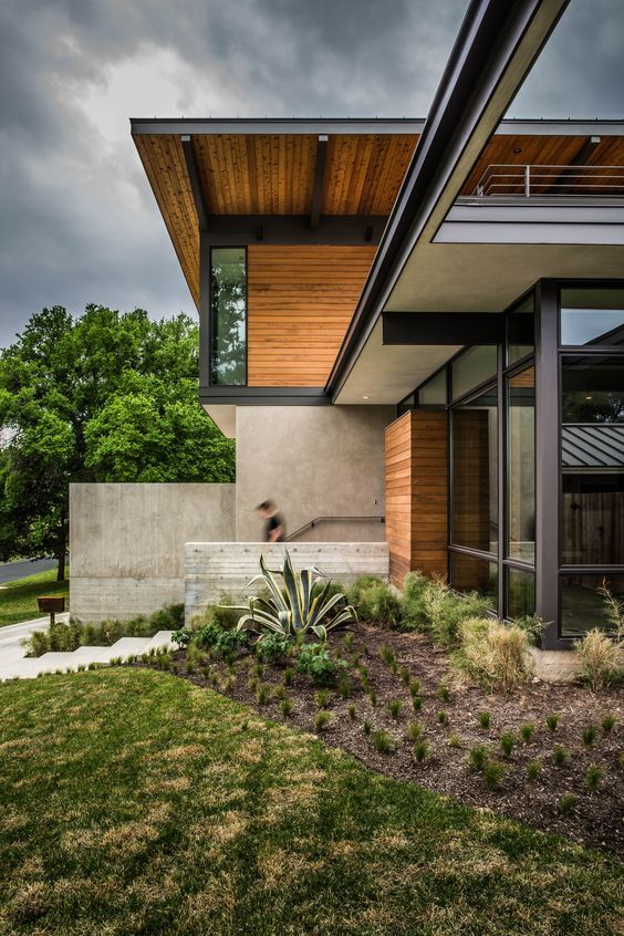 diseo de planos de casa de dos pisos grande fachada moderna combina la madera y acero