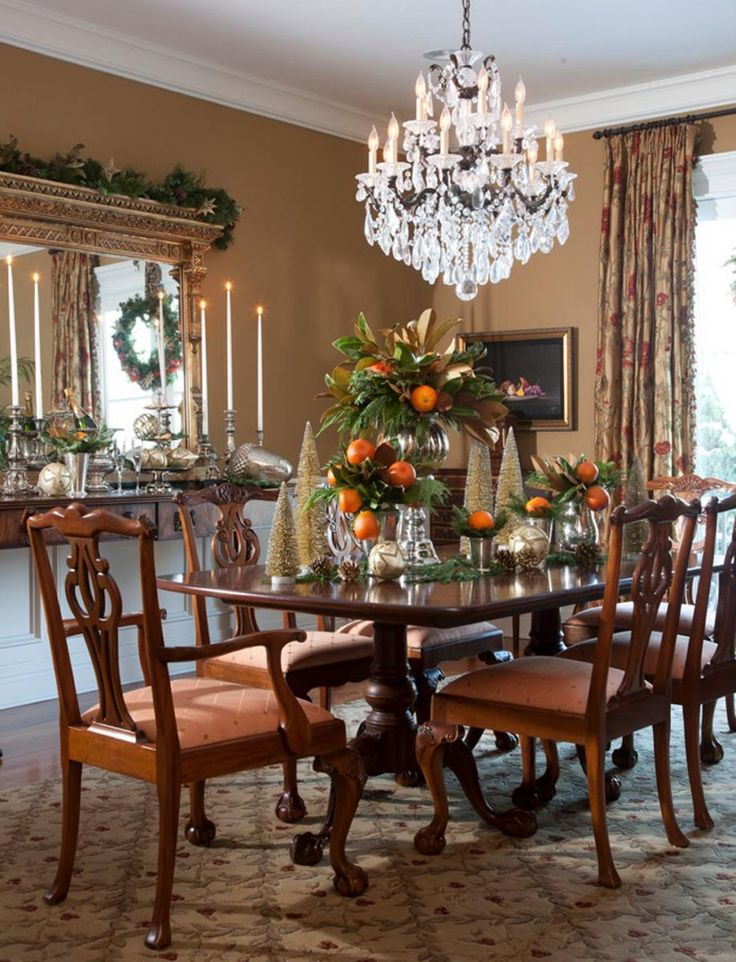 Dining Room Glamour Crystal Chandelier Above Table Set Blended With Brown Floral Window Curtains Wonderful Rooms