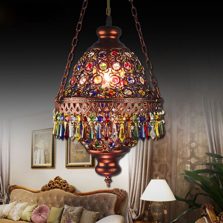 Bohemia Mediterranean <font><b>Amorous</b></font> Feeling Dining-Room Lamp E14 Base Porch Desk Lamp Through-Carved 7 Colour Crystal Pendant Light