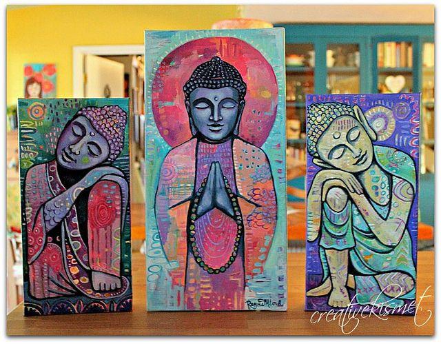 3 Buddha Paintings - Art by Regina Lord