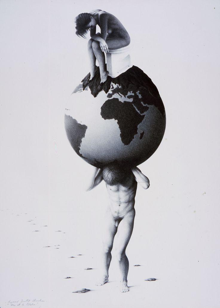 ATLAS ET LA POLLUTION (crayon sur papier 56 x 76 cm) ATLAS AND POLLUTION (pencil on paper 22'' x 30'')