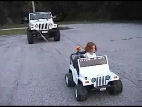 powerwheels jeep to 24v | Extreme Power Wheels Jeep pulling real Jeep 4x4!