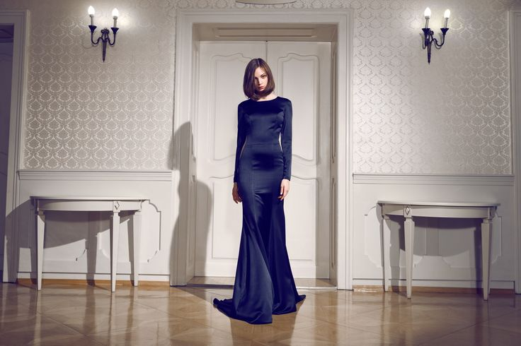 Daalarna Couture Black Lace and Silk Evening Dress_Secret collection