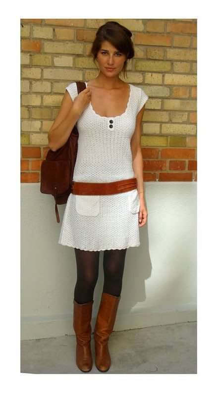 :): Cute White Dress, Summer Dresses, Style, Sweaters Dresses, Cute Outfits, Fall Outfits, Brown Boots, White Dresses, Belts