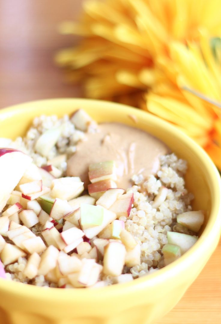 Peanut Butter and Apple Breakfast Quinoa  A gluten-free, dairy-free breakfast that's got healthy fats, protein and fruit.