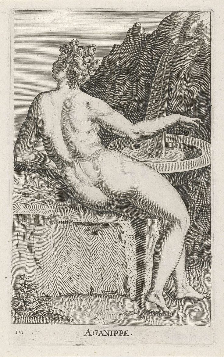 Waternimf Aganippe, Philips Galle, 1587