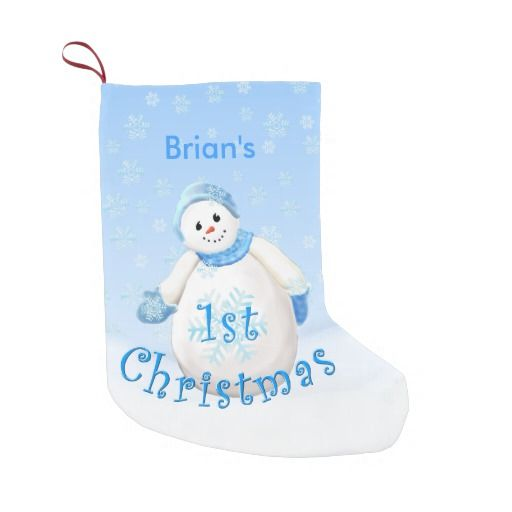 Baby's 1st Christmas Snowman Personalized Christmas Stocking