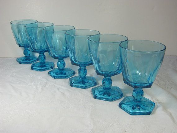 Gorgeous Vintage Turquoise Blue Wine Goblet Set 6 By