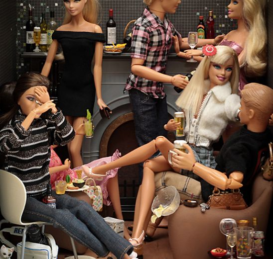 """Bad, Bad Barbie!  What's hidden behind """"eternal"""" Barbie's empty stare and immaculate exterior? Does this seamless exterior hide a dark black heart of a sociopath as in real life? All this inspired photographerMariel Clayton in creating this excellent concept and her """"Bad Barbie"""""""