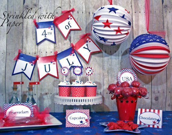 Printable 4th of July Party Collection by sprinkled with paper: B Day Ideas, 4Th Ideas, Holiday Parties, July Party, Printable 4Th, 4Th Of July, July Ideas, Party Collection, Party Ideas