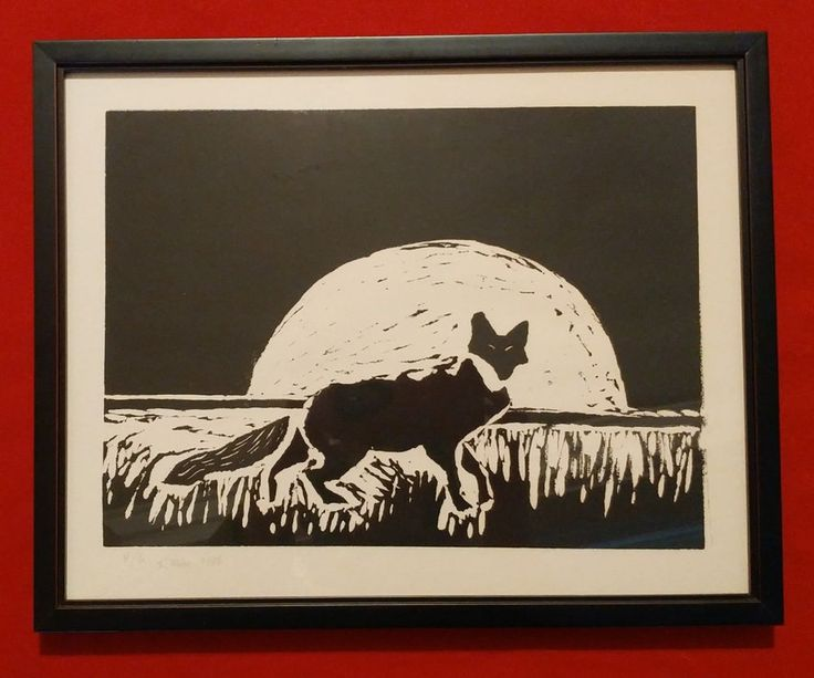 Fox in Moonlight 1984 Lino Linoleum Block Print Signed K Max 4 of 6 Framed  #Primitive