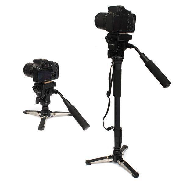 YUNTENG 288 monópode cámara de fluido con la cacerola soporte del cabezal de monópode Canon Nikon la cámara réflex digital