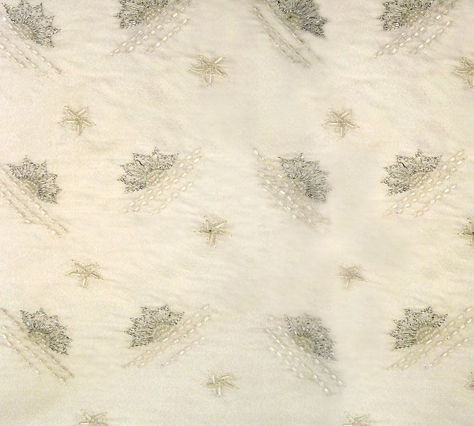 Fabric, Patterned, Silk, Dupion, Embroidered, Beaded, 7024