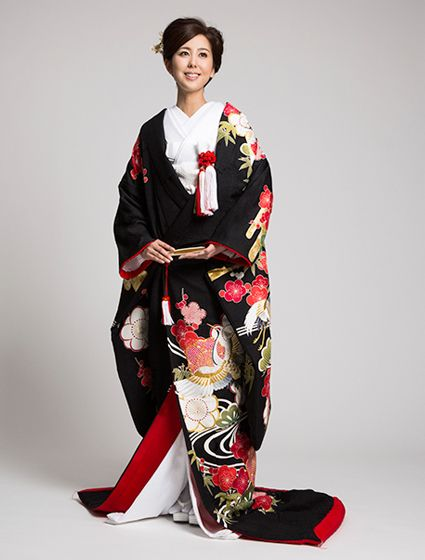 Sophisticated Black Uchikake with Red Plum Blossoms and Flying Cranes