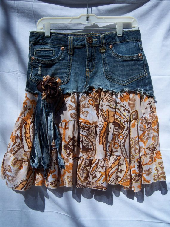 Aeropostale Upcycled Denim Skirt by DenimReDooz on Etsy