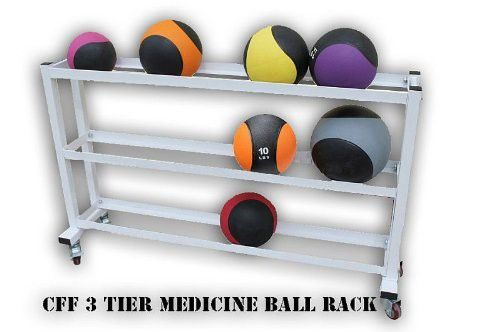 CFF 3 Tier Medicine Ball Rack with Wheels - Great for Cross training, mma, boxing, personal training